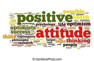 atteggiamento positivo, concetto, etichetta, nuvola