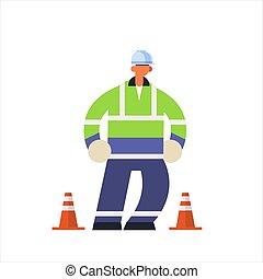 atteggiarsi, pieno, industriale, lunghezza, maschio, lavoratore, il portare, costruzione, concetto, uniforme, appartamento, costruttore, duro, standing, costruzione, occupato, lavoratore, cappello