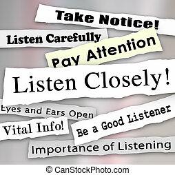 attentamente, pagare, attenzione, parole, giornale, titoli, ascoltare