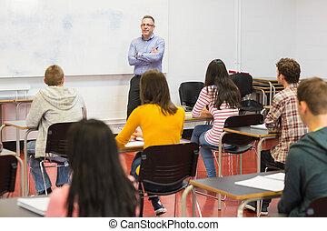 attento, aula, studenti, insegnante