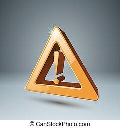 attenzione, danger., 3d, giallo, icona