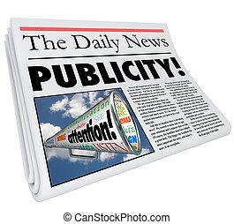 attenzione, pubblicità, titolo, segnalazione, copertura, giornale