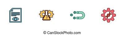 attirando, set, occhio, bioingegneria, cliente, icon., carta, pagina, genetico, vettore