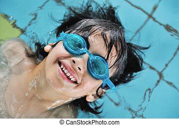 attività, bambini, stagno, nuoto