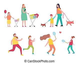 attività, bambino, vettore, illustrazione, madre
