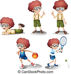attività, differente, cinque, giovane ragazzo