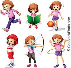 attività, differente, giovane ragazza