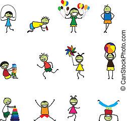 attività, divertimento, palla, school., alfabeto, ragazze, blocchi, saltando, gioco, ragazzi, altro, illustrazione, kids(children), saltare, palloni, correndo, detenere