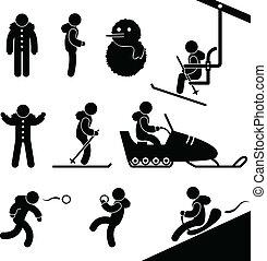 attività inverno, chairlift, sciare