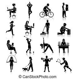 attività, nero, fisico, icone