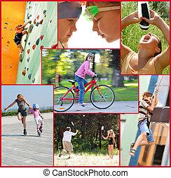 attività, persone, collage, foto, sport, attivo