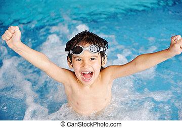attività, stagno, gioco, acqua, estate, bambini, felicità, nuoto