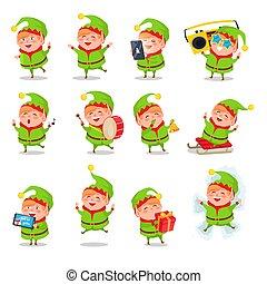 attività, vettore, elfo, collezione, illustrazione