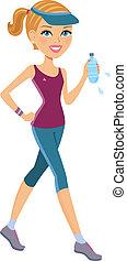 attivo, donna, esercitarsi