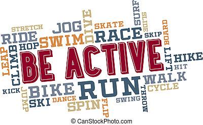 attivo, essere, collage, parola, nuvola