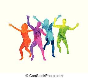 attivo, felice, saltare, persone
