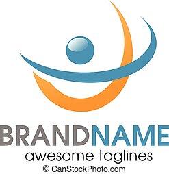 attivo, logotipo, astratto, persone