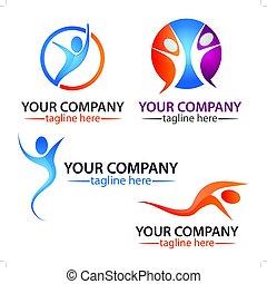 attivo, logotipo, set, logo., persone