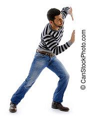 attivo, maschio, vista, lato, ballo