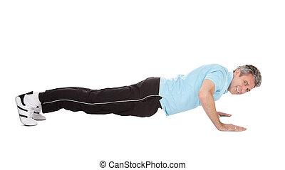 attivo, pushups, uomo maturo