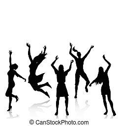attivo, silhouette, donne felici