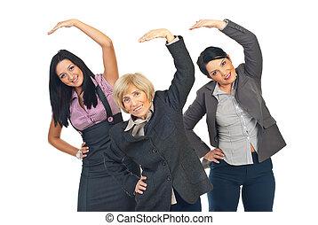 attivo, stiramento, donne affari, mani