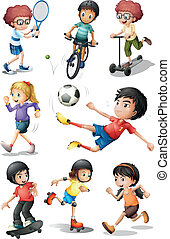 attraente, attività, differente, sport bambini