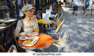 attraente, caffè, donna, parigi