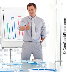attraente, dare, presentazione, uomo affari