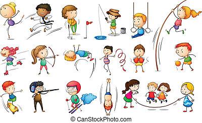 attraente, differente, sport bambini