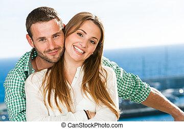 attraente, ritratto, giovane, coppia.