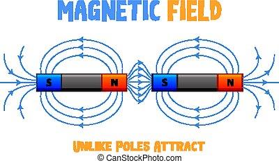 attrarre, magnetico, poli, campo, unlike