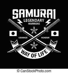 attraversato, spade, katana, samurai, nero, emblema