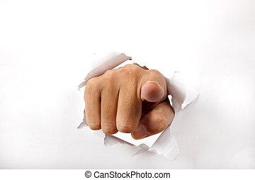 attraverso, carta, dito, rottura, indicare, mano, lei, bianco