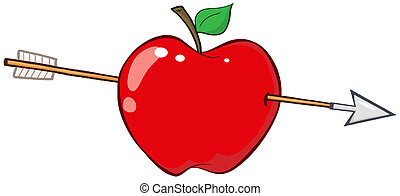 attraverso, freccia, mela rossa