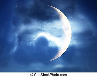 attraverso, nubi, falce di luna