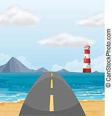 attraverso, strada, oceano
