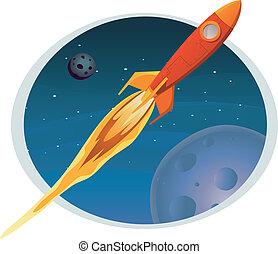 attraverso, volare, bandiera, astronave, spazio
