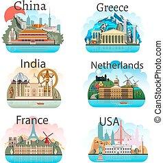 attrazioni, set, paesi