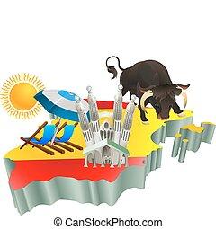 attrazioni, spagna, turista, illustrazione, spagnolo