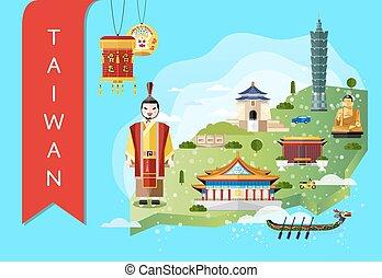 attrazioni, viaggiare, concetto, taiwan, famoso
