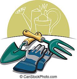 attrezzi, guanti, giardinaggio
