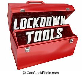 attrezzi, illustrazione, risorse, sicurezza, 3d, toolbox, misure, sicurezza, lockdown