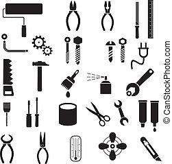 attrezzi, vettore, -, icone