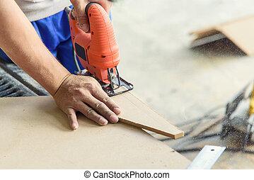 attrezzo, sega, uso, legno, piastra, lavoratore, jigsaw