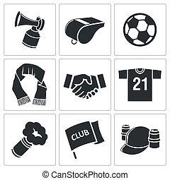 attributes, calcio, set, ventilatore, icona
