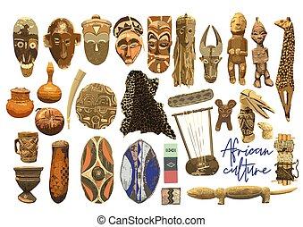 attributes, fondo, tradizionale, africano, isolato, bianco, cultura