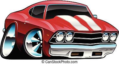 audace, macchina classica, cartone animato, illustrazione, americano, vettore, muscolo, rosso