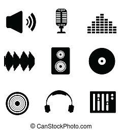 audio, musica sana, icone