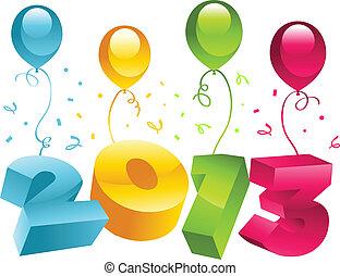 augurio, 2013, anno, nuovo, scheda, 3d